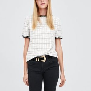 Zara off white textured top with faux pearl band